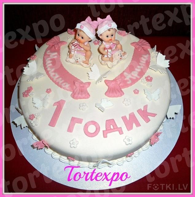 Торт для двойняшек девочек фото на годик